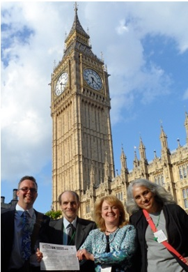Andy Honey (Clouds End CIC), Richard Wallace, Heather Matuozzo (Clouds End CIC), Vasoulla Savvidou outside Parliament for the launch of UK Hoarding Awareness Week 2014