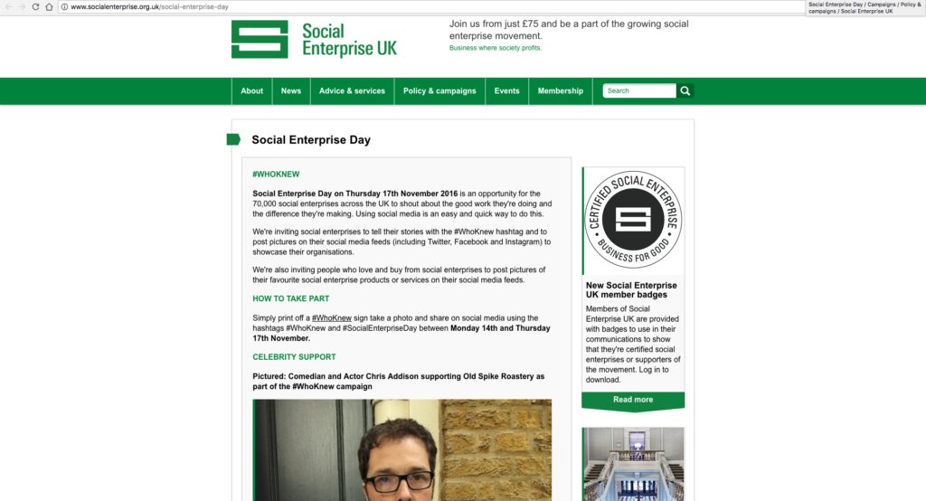 Social Enterprise UK website
